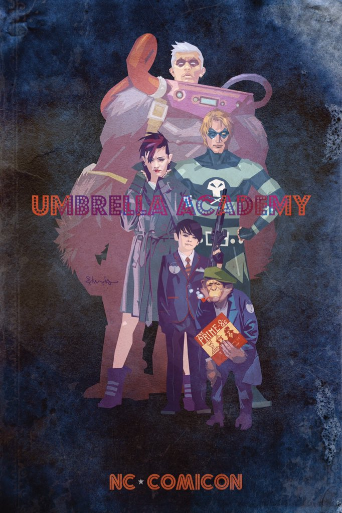 Come get your exclusive limited-edition #UmbrellaAcademy art print signed by @gerardway and me during @NC_Comicon https://t.co/xDwTx0vHhx