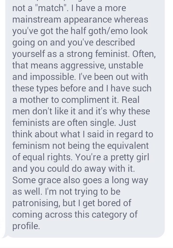 My mate got this msg on a dating app where she's described herself as 'a feminist'. #everydaysexism oh how far to go https://t.co/gi2T64yNR2