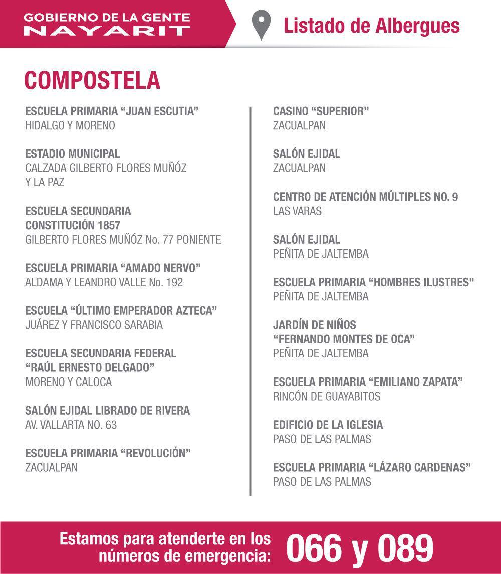 Estas son los albergues ya instalados en #Compostela. #HuracánPatricia https://t.co/TpkzVPk0KG