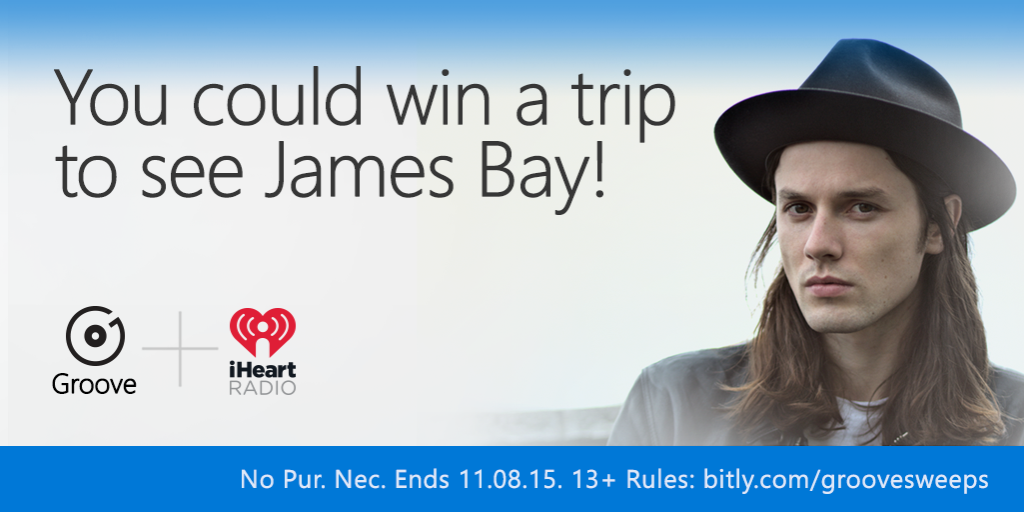 Follow @WindowsStore & tweet ur fave James Bay song with #iHeartRadio &   #GrooveSweepstakes https://t.co/fTNWTSibNi https://t.co/ioeZaA8p0O