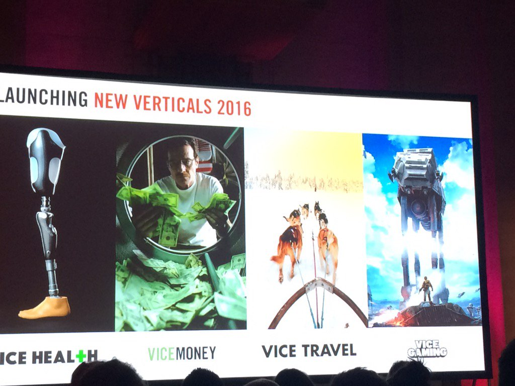 .@VICE launching four new verticals in 2016 : • health • money  • travel  • gaming https://t.co/JlCGh8oIiC