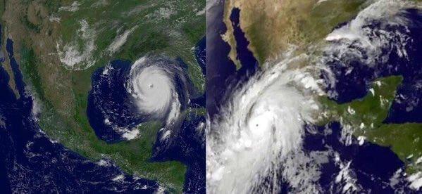 Comparativo entre Huracán Katrina en 2005 (izquierda) y #HuracánPatricia (derecha). https://t.co/rhcE4QzUag