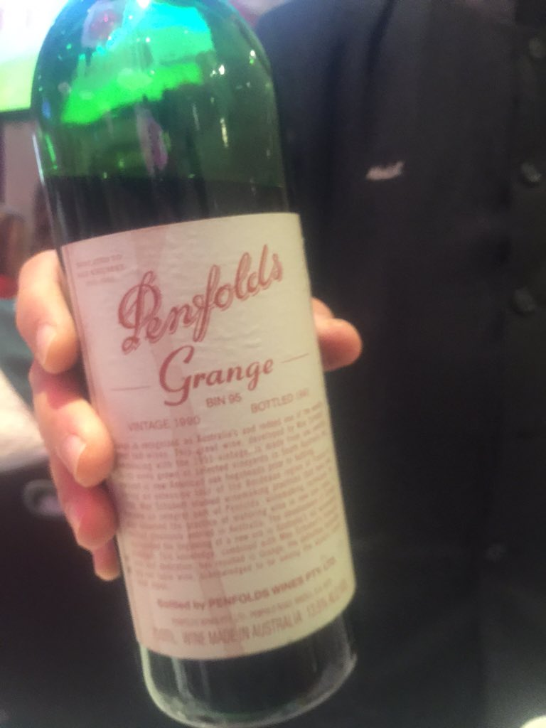 """@harveywine """"there is not a single bad vintage"""" of the @penfolds #grange @WineSpectator #NYWE2015 #mindblowing https://t.co/9aDhO4HQmK"""