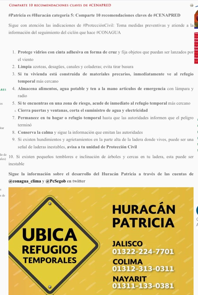 10 Recomendaciones de @cenapredgob ante #Patricia @HechosAM https://t.co/y8qasRm4hW