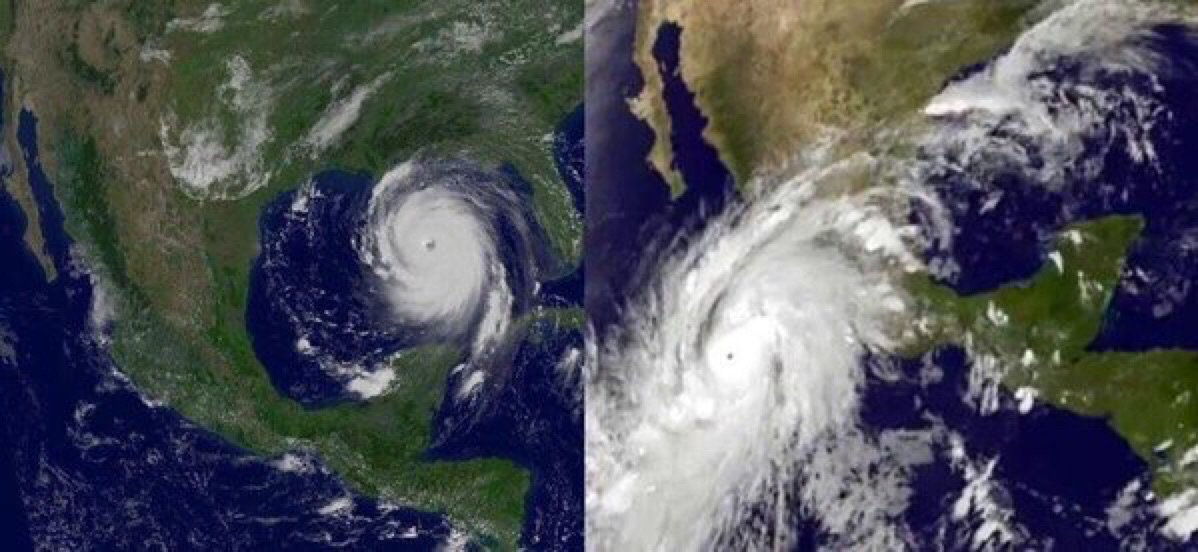 Side by side pics of #HurricaneKatrina on the left and #HurricanePatricia on the right.