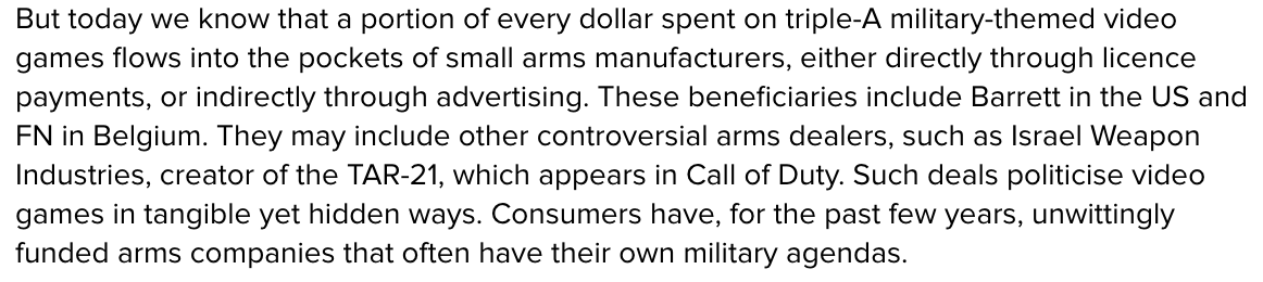 from LRT, something I wish I'd realised sooner. Buying games with real gun models/names/brands funds weapon makers. https://t.co/r3isTIFfyB