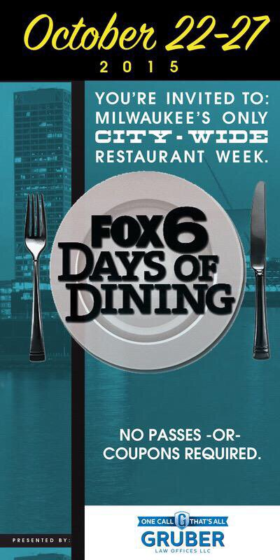 So many great dinner options for #Fox6DaysofDining tonight. View menu deals at https://t.co/dLbQfNQoad @onmilwaukee https://t.co/D0K4lPWMxk