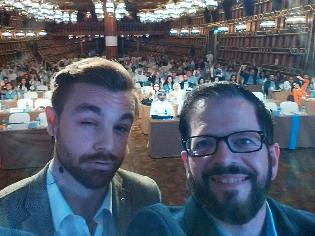 "Quick on-stage selfie with @bampen of @Twitter at #MASHUPMENA - the awesome audience says ""hello!""  #duckface https://t.co/pk86xrL2iN"
