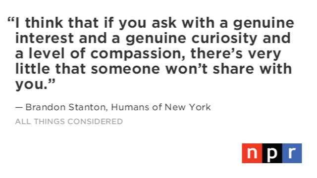 ICYMI: Listen to my interview with Brandon Stanton of @humansofny  here: https://t.co/z9oadsnY2c https://t.co/9rYDxjP4bj