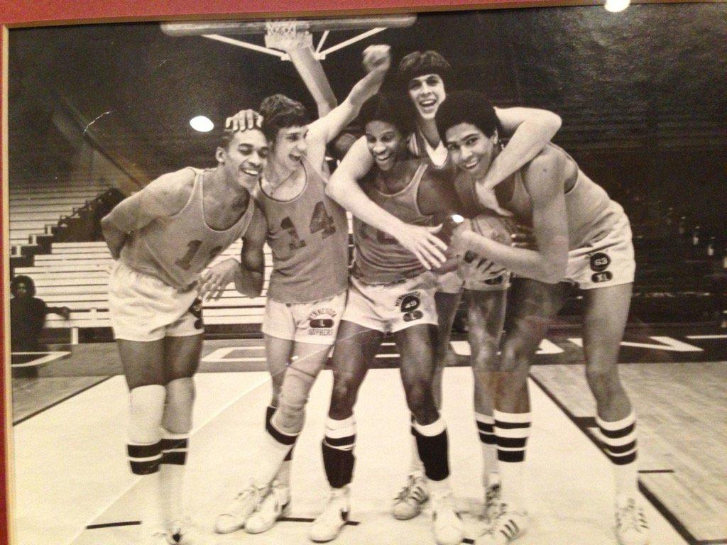 RIP Flip Saunders.  Love this pic from U of Minnesota circa '77.  Flip, Mychal Thompson, Kevin McHale on same team https://t.co/SPYwKpuNfM