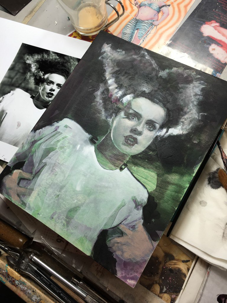 #painting a lady I've always loved. #brideoffrankenstein #happy #happy #joy #joy #happyhalloween https://t.co/C52mdX7kmr