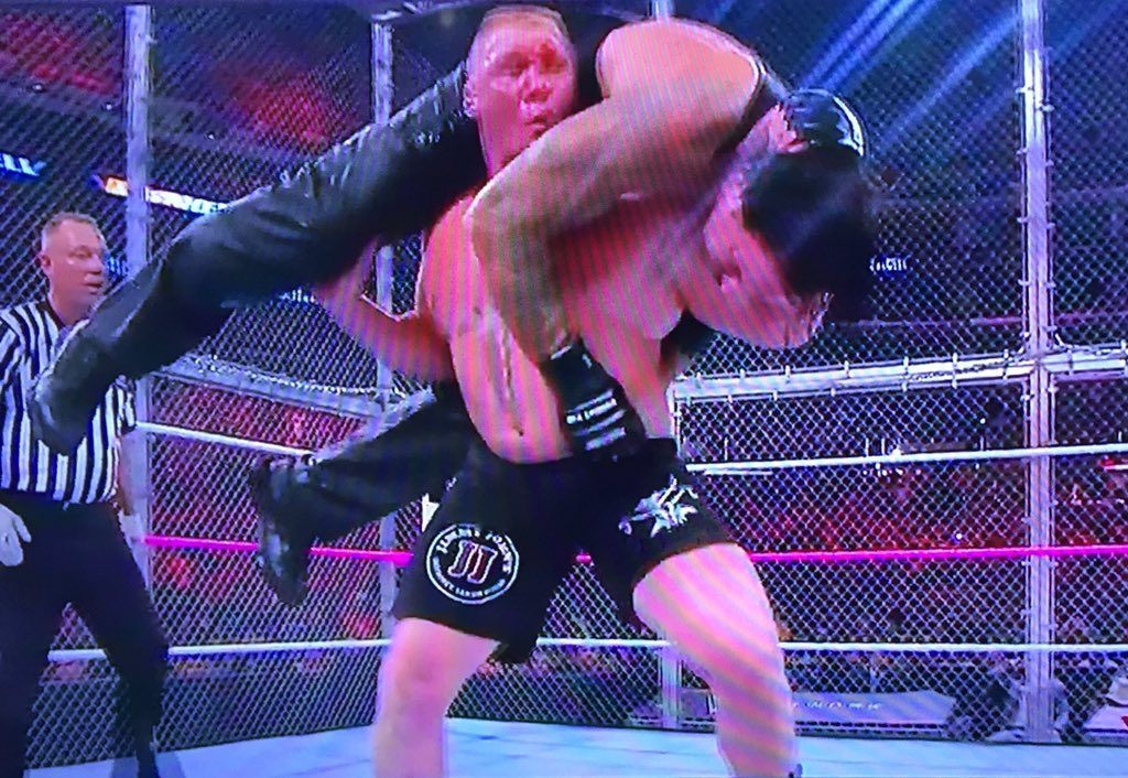 I said it, but more importantly @HeymanHustle told us all to expect it, Brock Lesnar fells the Phenom at #WWE #HIAC https://t.co/vOpV2GCjy9