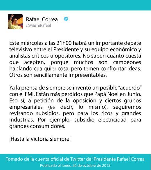 .@MashiRafael: Este miércoles, 21h00 habrá importante debate televisivo entre el Presidente y analistas críticos. https://t.co/FYKEfyNqhL