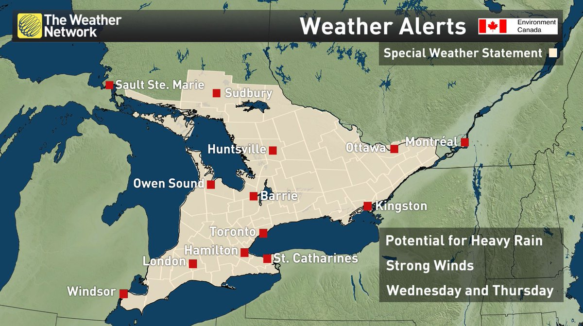 If your city is in this special weather statement expect heavy rain starting Wednesday & strong winds.  #onstorm https://t.co/aaM1DmAkYE