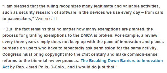 .@RonWyden on today's #DMCA exemption rulings & the broken process https://t.co/dtn89L92V0 https://t.co/yNCMjHK51R