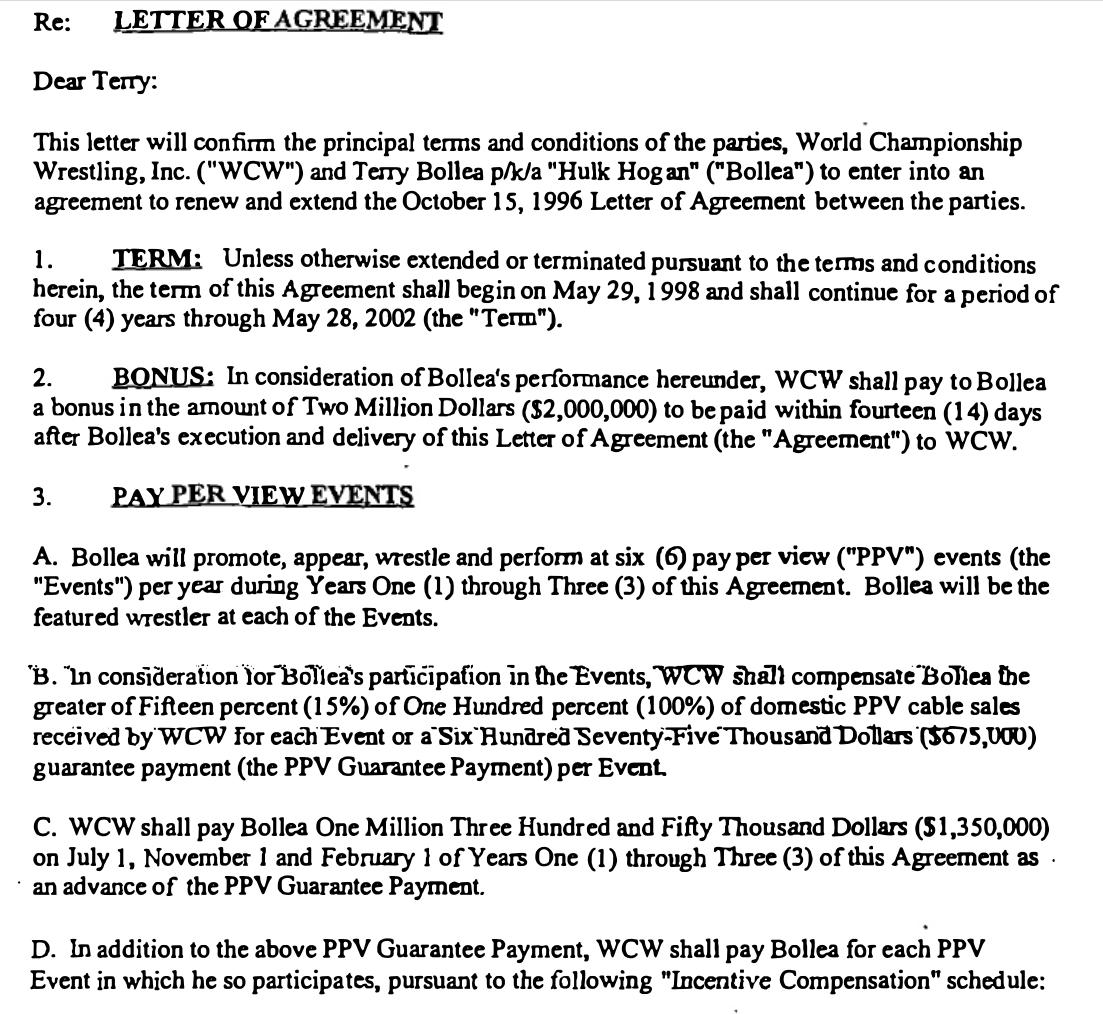 Inside Look Hulk Hogans 1998 Contract With Wcw Ht Mookieghana