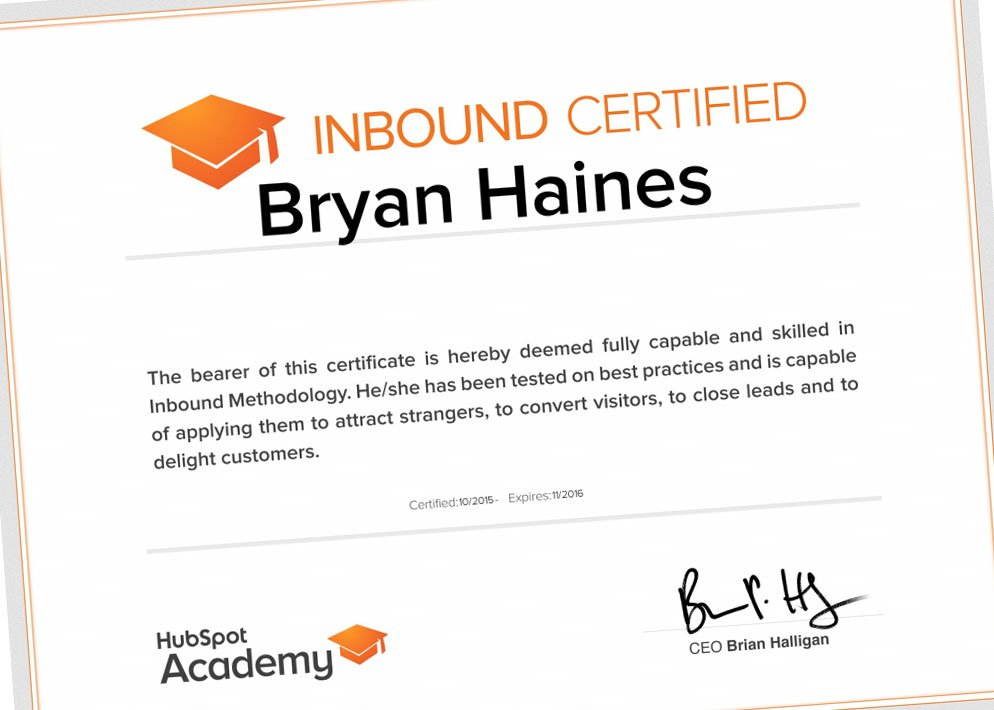 I just received my Inbound Certification from @HubSpot!  #inboundmarketing #inboundcertification https://t.co/6ho75frwq7