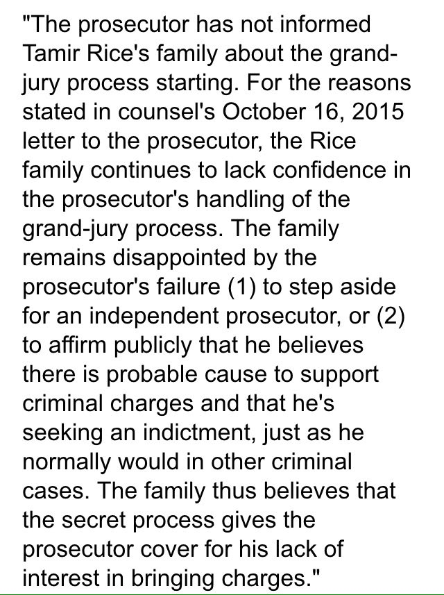 Just got #TamirRice Family's response on hearing Grand Jury is now hearing evidence on their son's case. https://t.co/710r4ZzbC8