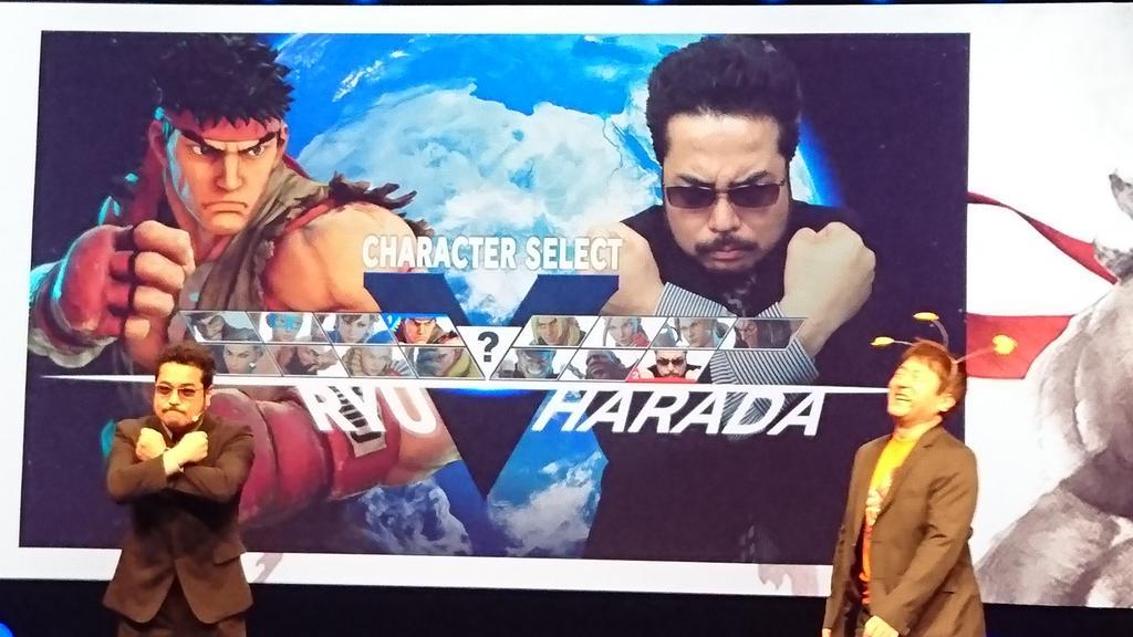 Sur la scène de la conf #PlaystationPGW, @Yoshi_OnoChin et @Harada_TEKKEN ! #AWESOME https://t.co/lLGy1LtknX