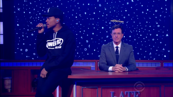 "Sent from Heaven: @chancetherapper debuts ""Angels"" on @colbertlateshow https://t.co/uF6qTOsB4h https://t.co/SEqTKkZ7LD"