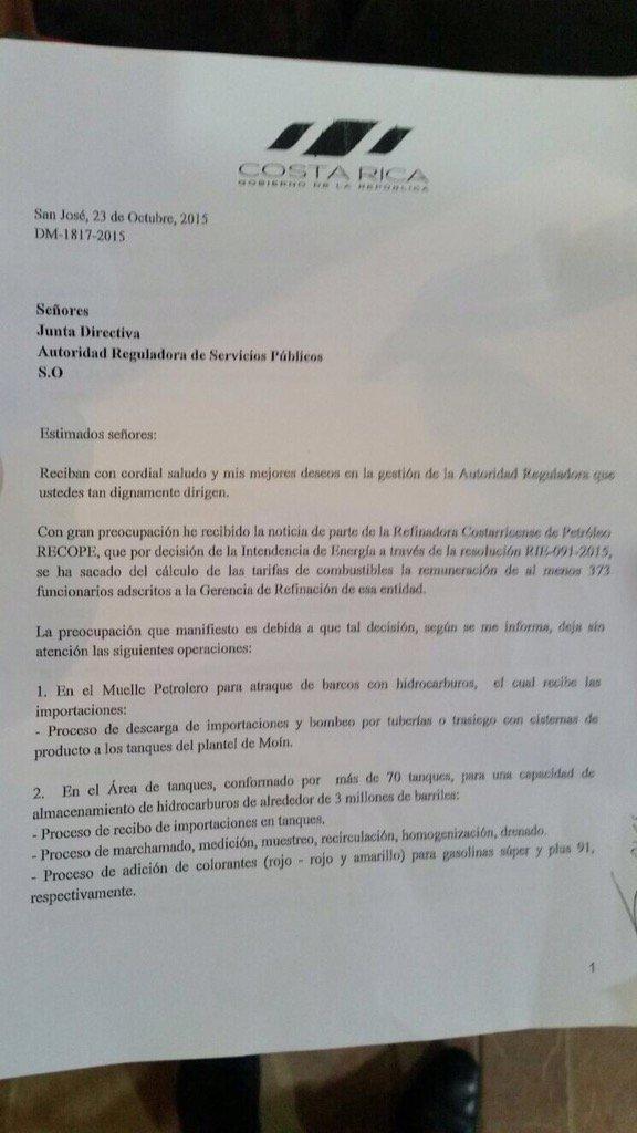 Inaceptable intromisión de Casa Presidencial contra ARESEP p/ proteger convención colectiva de RECOPE https://t.co/uytjc9l05r