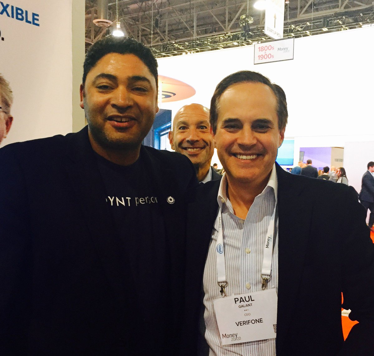 CEO meetup in the @Verifone booth! @Poynt @obedier & @PaulGalant #Money2020 #photobomb by EVP Vin D'Agostino https://t.co/Ds4sQgiP1d