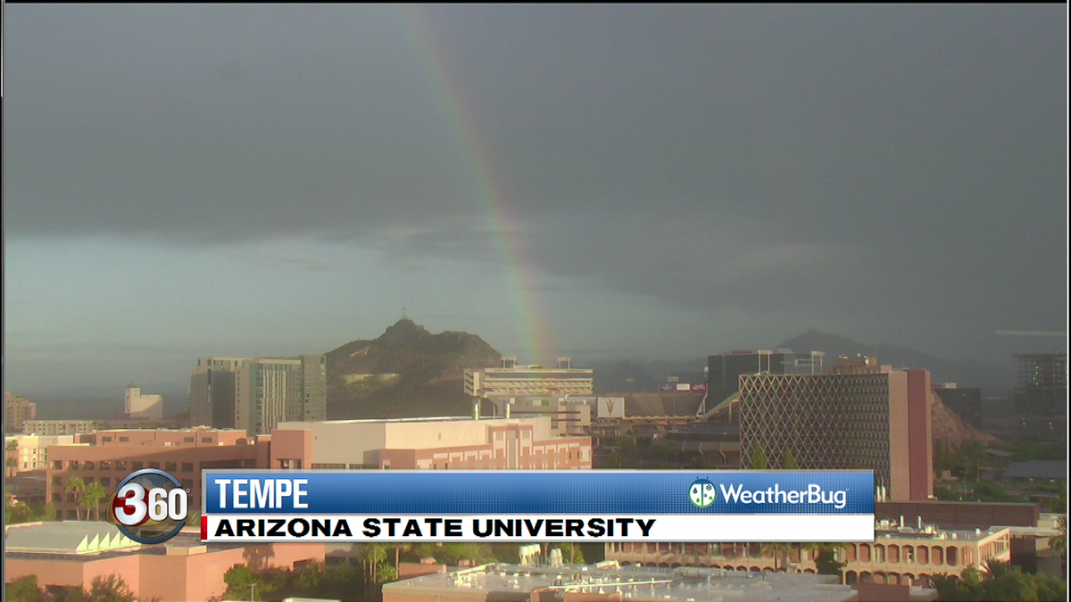 Our @weatherbug cam at ASU caught this am rainbow with the pot 'o gold near Sun Devil Stadium. #sundevilnation https://t.co/1qOLNfu0td
