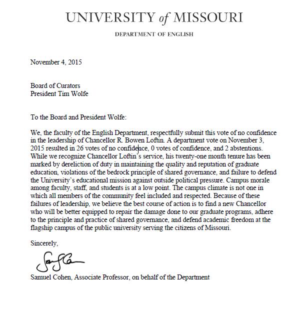 University of Missouri English Department casts a 26-0 vote of no confidence in Chancellor R. Bowen Loftin #Mizzou https://t.co/okFh5zNDkD