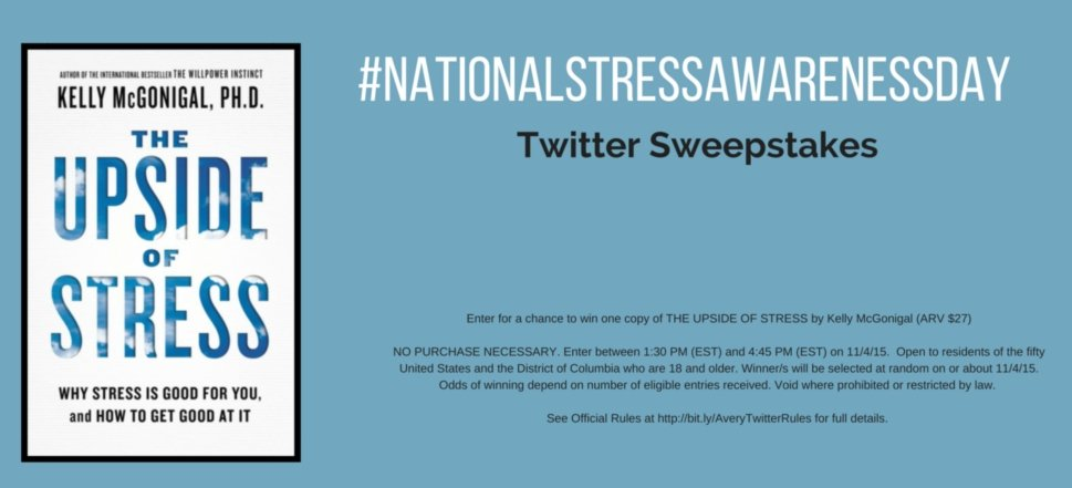 Embrace #stress. RT to win a copy of THE UPSIDE OF STRESS. US only. Rules: https://t.co/uHD1khpdtC #sweepstakes https://t.co/wllVYOfxr5