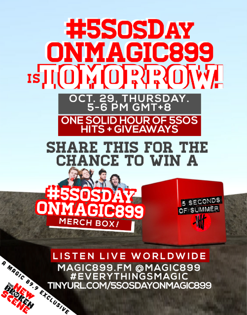 Tomorrow's #5SOSDayOnMagic899, #5SOSFam!✨ Follow+RT and you might win a @5SOS MerchBox! https://t.co/FeNjRjGEnI https://t.co/YYFWyqmWS1