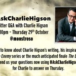 RT @PenguinUKBooks: Charlie Higson @monstroso will be answering your bookish questions from 12.30pm today. Join in! #AskCharlieHigson https…