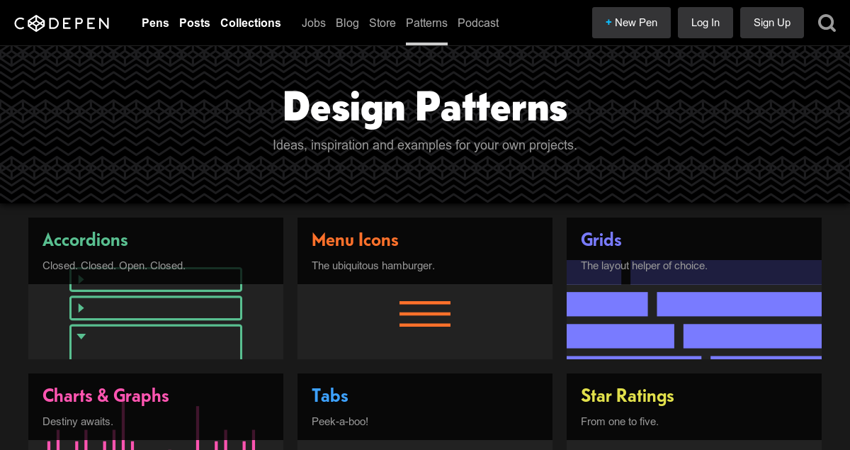 Good for inspiration and examples. Codepen Design Patterns → https://t.co/pbiBpf1gKS https://t.co/JAEJeYVjCu