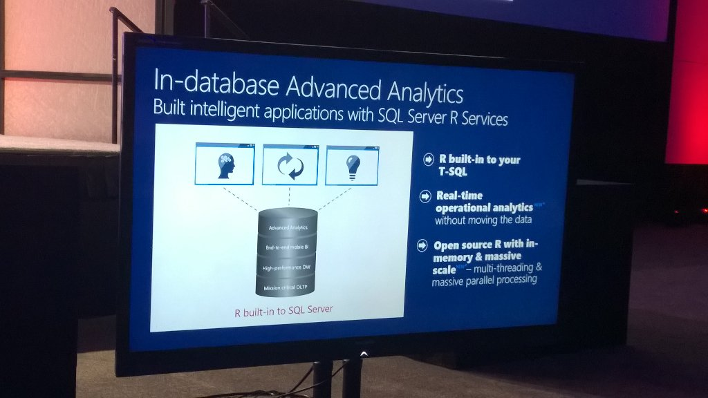 R built into SQL Server is a huge deal. And, as a query tuner, it opens up new fun. #summit15 #sqlpass https://t.co/QHIhbpR5Lq