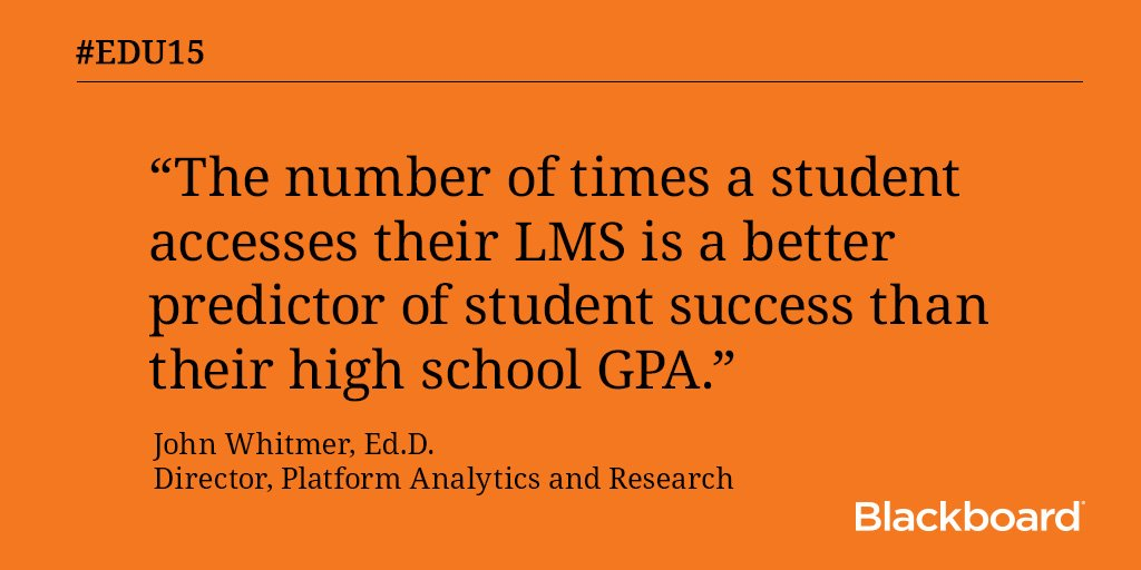 """The number of times a student accesses their LMS is a better predictor of student success than their GPA."" #EDU15 https://t.co/6JGjybNlQV"