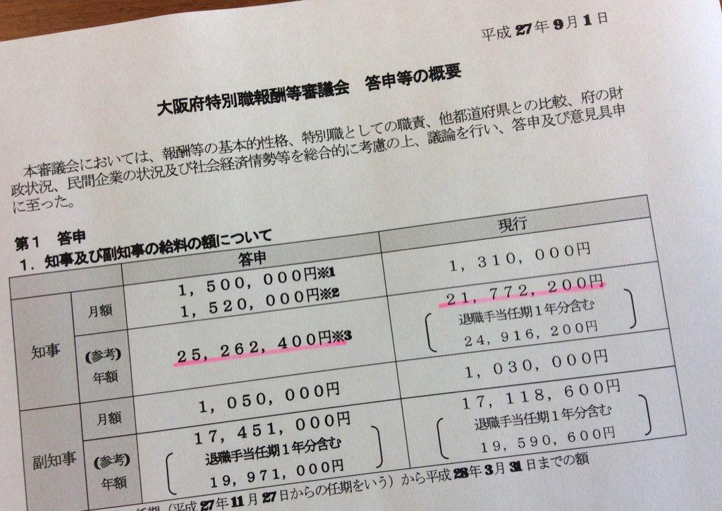 大阪府議会できのう(28日)可決された信じられない条例案。 松井知事自身が諮問したもので「退職金を廃止」とうたってはいるが、その分を給与に振り分けて実際の収入総額は変わらない。こんなやり方は維新の党の身を切る改には全くそぐわない! https://t.co/o7JzfJ5VZ1