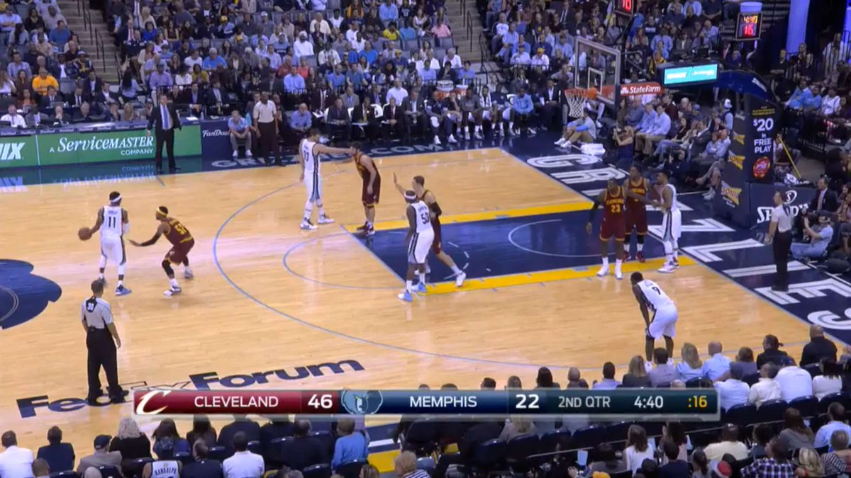 """Cavs took page directly from GSW playbook, often put LeBron """"on"""" Tony Allen, basically left him alone outside. https://t.co/j5CRqFPQ8b"""