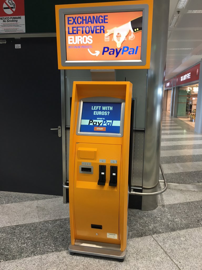 PayPal cashing machines at the airport to put your leftover foreign currency into your PayPal account. Clever. https://t.co/qB0ACzdGpg