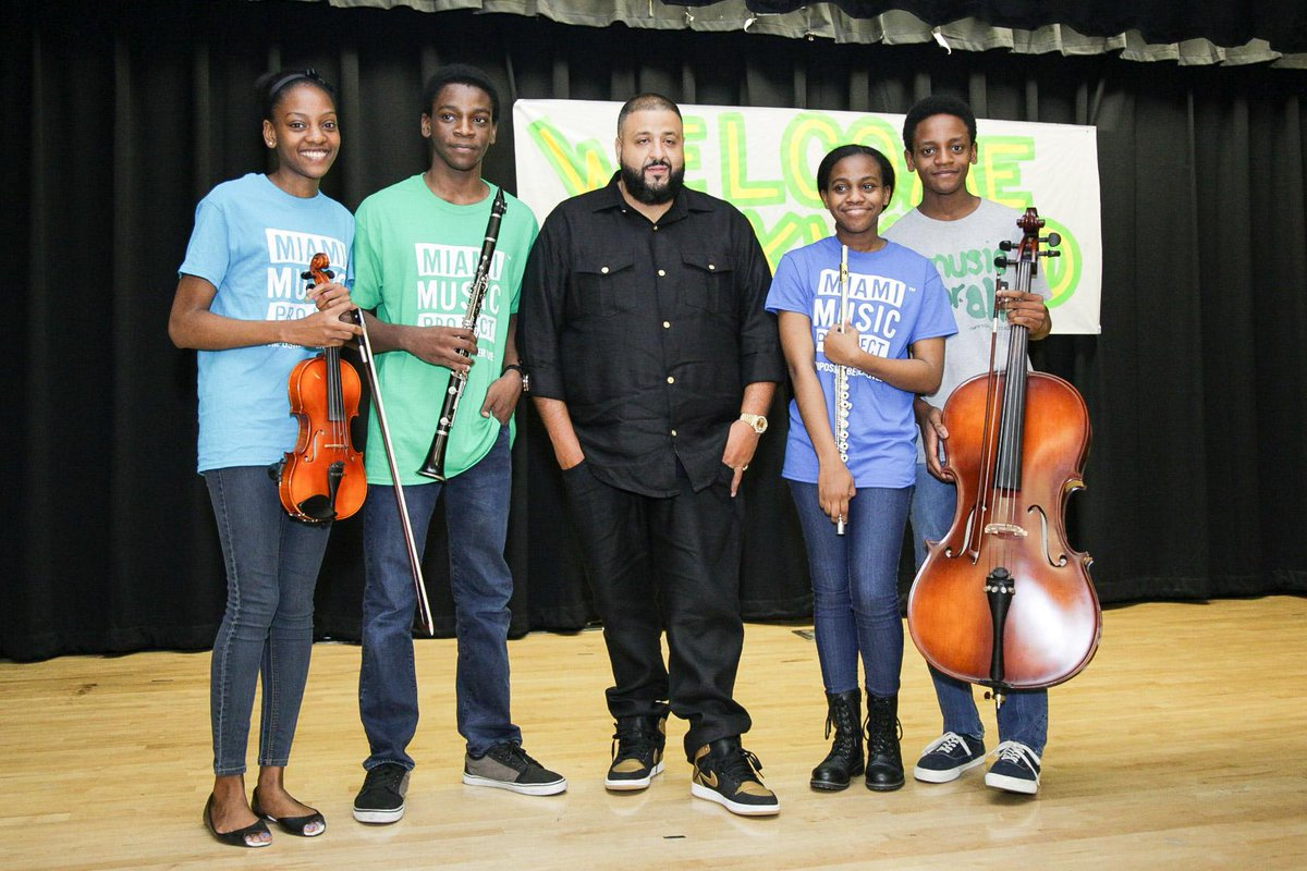.@djkhaled inspires kids, supports music education at Citrus Grove Middle with donation for instruments and program. https://t.co/ijJ6FWkcG9