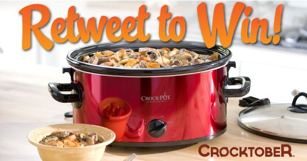 It's #Crocktober! Retweet & you could win a FREE Crock-Pot Slow Cooker! (Ends 11/4) Rules: https://t.co/IaVDPhUu2z https://t.co/DXZGQ5fZHM