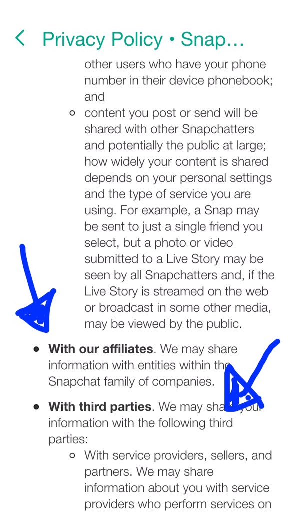 Read the new @Snapchat privacy/legal policies before deciding whether to click yes. Scary stuff in there, kids. https://t.co/RvXMk1JPdn