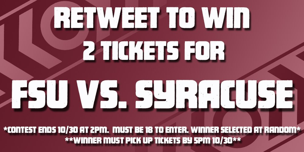 Only 1 hour left to RT to win 2 tix to tomorrow's matchup between @FSU_Football and @CuseFootball! #IHeartTally https://t.co/n6yuFBcUSC