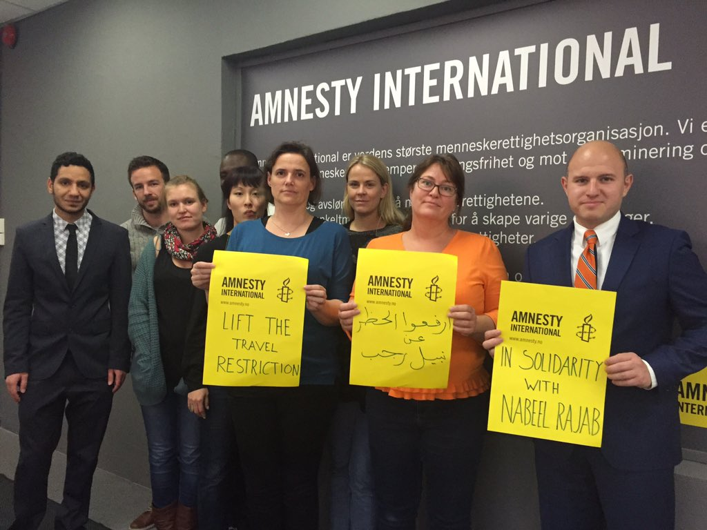 In solidarity with human rights defender @NABEELRAJAB. He should be able to travel freely. #Bahrain https://t.co/kH51bgE3iv
