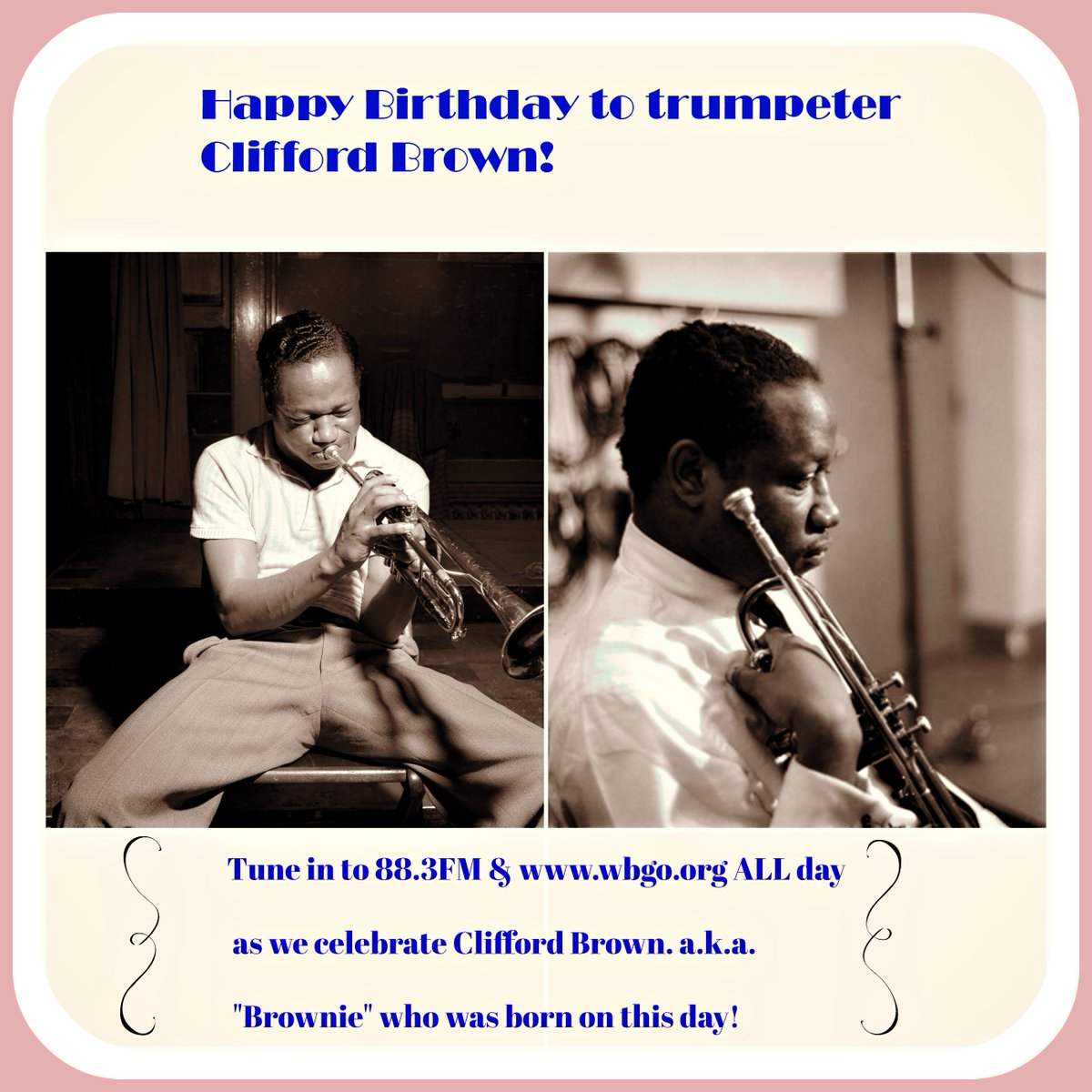 "We're celebrating ""Brownie"" today on what would have been his 85th bday: trumpeter Clifford Brown! #88.3FM #WBGO https://t.co/QVKrAj63H3"