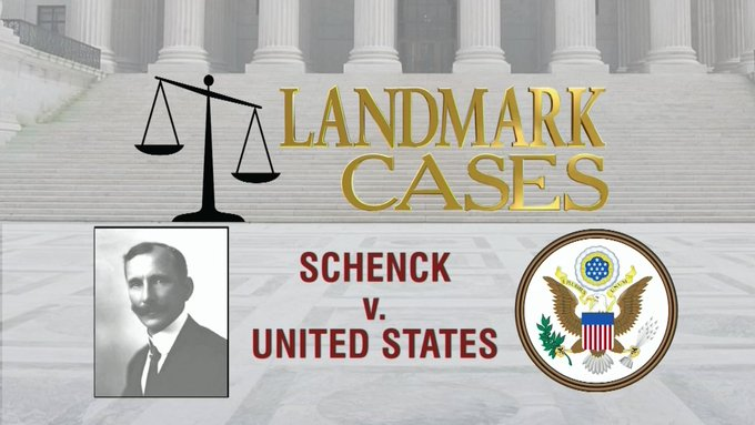 schenck vs united states 1919 The schenck court case of 1919 developed out of opposition to u s involvement in world war i (1914-1918) antiwar sentiment in the united states was.