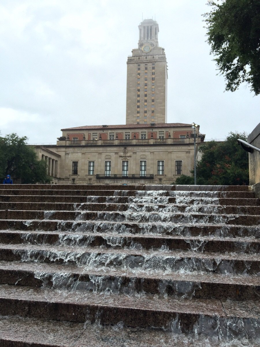 The Tower now has a waterfall. (Photo by barnacleboi on reddit) #atxfloods https://t.co/0MHgzhamIS