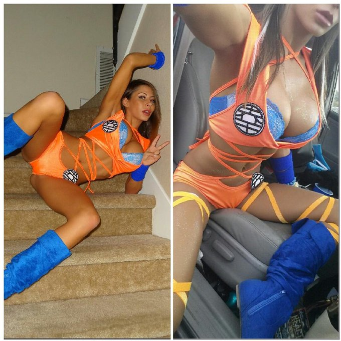 My #Goku inspired outfit is never a bad choice for Halloween shenanigans #GoSuperSaiyanOnMyPussy ?? https://t