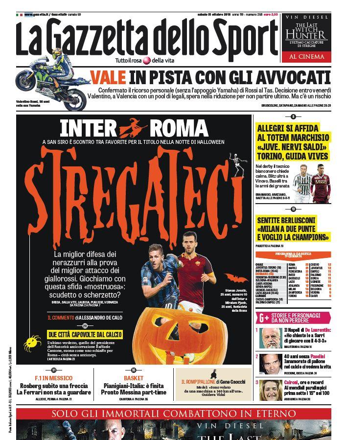 Oggi in copertina tutti gli aggiornamenti sul caso #Rossi e le sfide tra #InterRoma e #JuventusTorino https://t.co/l2zrKZCgp8