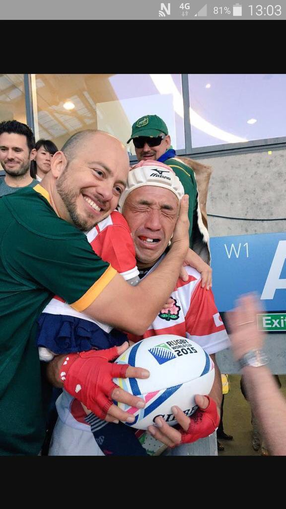 This is the photo that will always remind me of #RWC2015 . Great support great sportsmanship. Love our game. https://t.co/OUAyc1EjFB