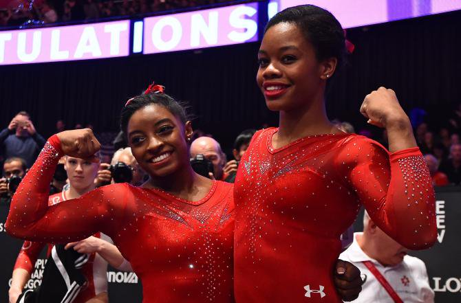Simone Biles and Gabrielle Douglas 1st and 2nd in the Women's All-Around final 2015 World Gymnastics Championships https://t.co/m5n3gu6fyW
