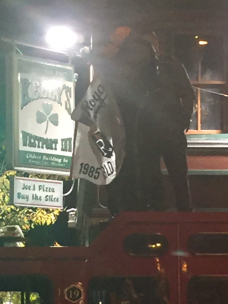 Cops standing on top of a fire truck leading a Let's Go Royals chant in Westport https://t.co/JUdmSlWtAu